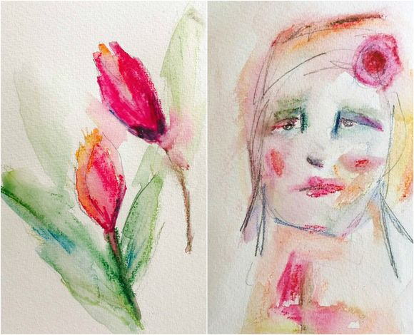 Collage flower and portrait