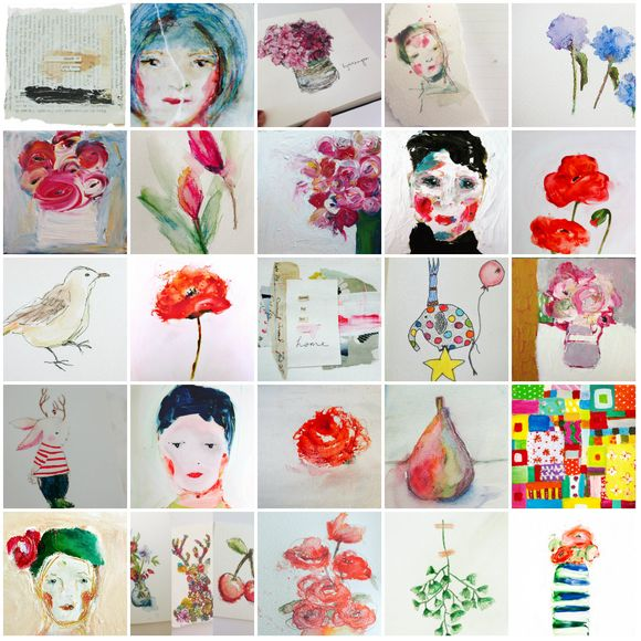 Collage paintings and drawings